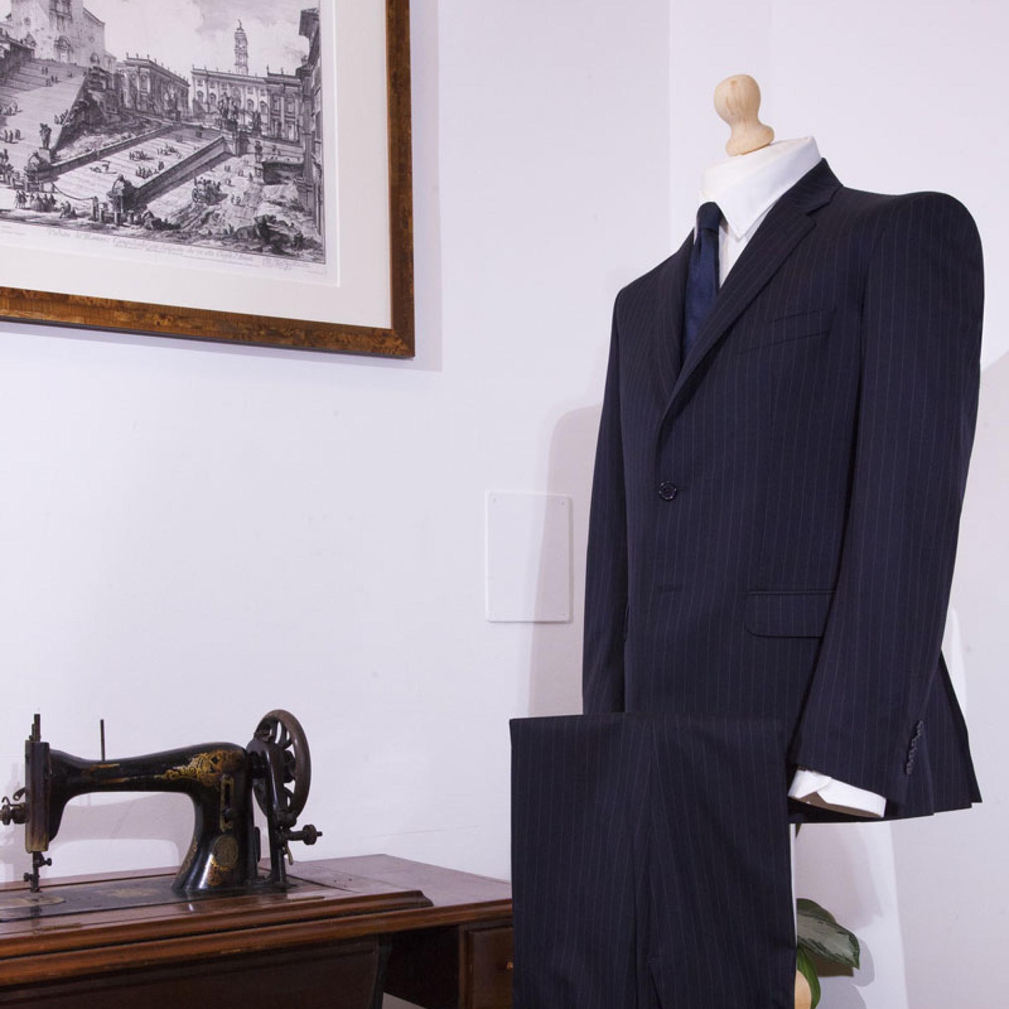 giacca gessato sartoria leonardo